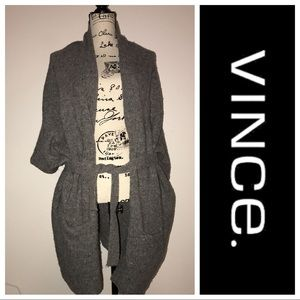 Vince. Gray Wool Shrug Sweater Large